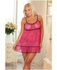 Rene rofe empire flower mesh babydoll and g-string pink qn