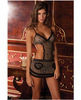 Rene rofe mesh apron w/ruffles leopard m/l