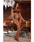 Rene rofe strappy microfiber halter teddy black m/l
