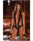 Rene rofe sweetheart halter mesh and ruffles teddy black s/m