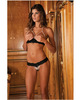 Rene rofe pearl necklace bra and g-string set black m/l