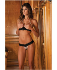 Rene rofe pearl necklace bra and g-string set black s/m