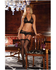 Rene rofe lace mesh bra and g-string w/garters black m/l