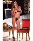 Rene rofe open cup bra set black m/l