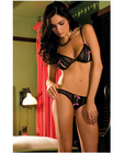 Rene rofe lace peek-a-boo and crotchless thong black m/l