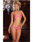 Rene rofe lace peek-a-boo and crotchless thong pink m/l Sex Toy Product