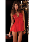 Rene Rofe Lace Mesh Halter Babydoll & G-String Red Lg Sex Toy Product