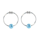 Silver nipple rings w/blue crystal bead