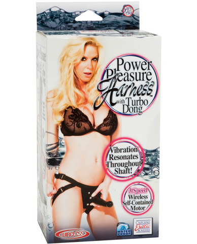Power pleasure harness w/turbo dong - black