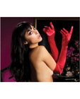 Satin opera length gloves red o/s