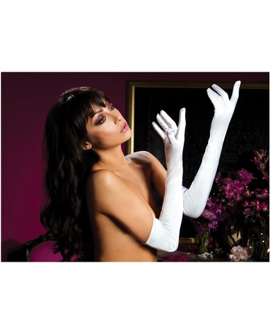 Satin opera length gloves white o/s
