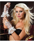 Wrist length fingerless lace gloves w/lace trim white o/s