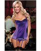 Hanging satin and fishnet ruffle slip w/push up cup and thong purple lg