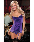 Hanging satin and fishnet ruffle slip w/push up cup and thong purple sm
