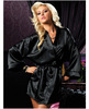Hanging satin mid thigh length robe w/side pockets and sash black m/l