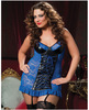 Hanging lace and lame chemise, underwire cups, front lace up, removable garters and thong blue 1x-2x