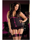 Pinstripe halter cami w/lace cup and skirted thong w/attached garters black qn