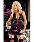 Pinstripe halter cami w/lace cup and skirted thong w/attached garters black o/s