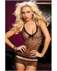 Leopard print mesh halter tie cami and boy short leopard o/s