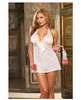 Chiffon halter babydoll w/ satin bow, thong and keepsake purse