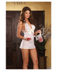 Chiffon halter babydoll w/satin bow, thong and keepsake purse