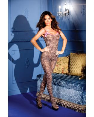 Leopard Print Crotchless Bodystocking Bows O/S Sex Toy Product