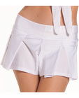 Solid color pleated school girl skirt white s/m