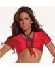 School girl stretch lycra tie top red o/s