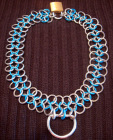 Good slave Collar chainmail 12in turquoise/silver