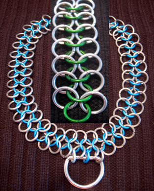 Good slave Collar chainmail 20in green/silver