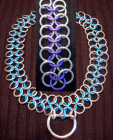 Good slave Collar chainmail 14in purple/silver