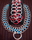 Good slave Collar chainmail 20in red/silver