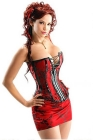 Red Hots - Corset, Skirt, and G-String Set - Small (S)