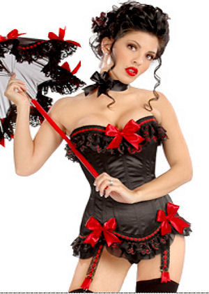 Rouge Noir - Red Ribbon Corset G-String Set (L)