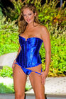 Shine - Rhinestone Accent Corset G-String Set Blue (S)
