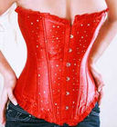 Shine - Rhinestone Accent Corset G-String Set Red (S)