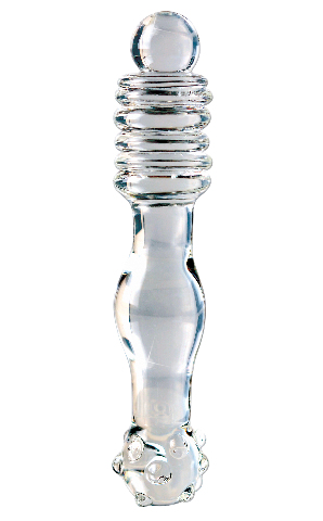 Icicles No.11, Hand Blown Glass Massager - Clear