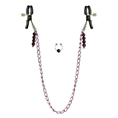 Nipple Clamps- Purple Chain with Navel Ring  Sex Toy Product