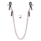 Nipple Clamps- Purple Chain with Navel Ring