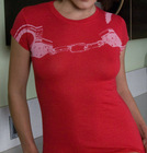 Womens Red Stockroom Handcuff Tshirt