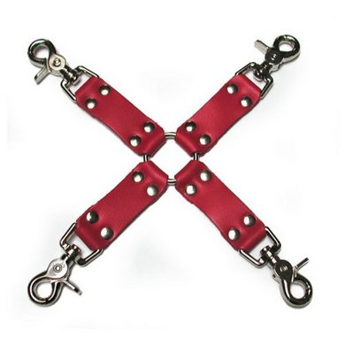 KinkLab Bondage Basics Leather Hogtie, Red