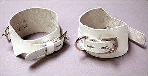 Locking/Buckling Ankle Cuffs, White, 2.25&quot;