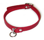 Leather Choker w/ O Ring, Red, Large