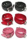 Premium Garment Leather Ankle Cuffs, Pink, S/M