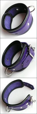 Locking Ankle Cuffs - Purple Leather w/ Black Trim