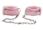 Grrl Toyz Pink Plush Ankle Cuffs with Chain