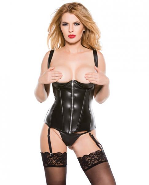 Faux Leather 1/4 Cup Corset Black XL Sex Toy Product