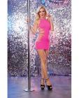 Seamless Halter Dress Side Slash High Neck Pink O/S Sex Toy Product