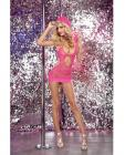 Seamless Fishnet Halter Dress Hood Pink O/S