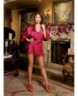 Charmeuse Short Kimono, Chemise Red Small Sex Toy Product